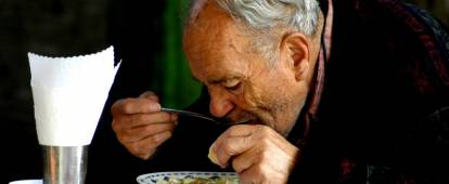 Man with a bowl of soup