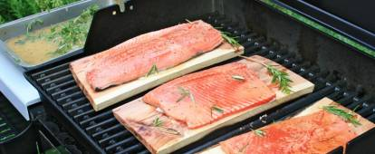 Cedar Plank Salmon (Canadian salmon grill-roasted on aromatic wood)