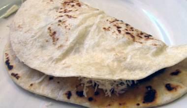 Baleadas (Honduran flour tortillas with beans and cheese)