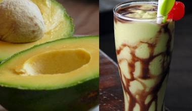 Fresh avocados and an avocado smoothie