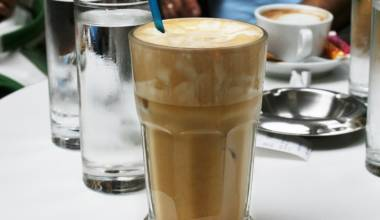 Frappe at a Greek cafe