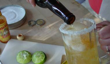 Michelada (Mexican spicy beer cocktail)