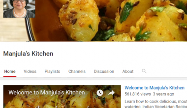 Screenshot of Manjula's Kitchen homepage on YouTube