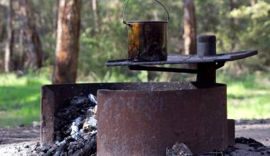 Tin can cooking on a camp stove