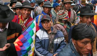 Men at a demonstration in La Paz, Bolivia