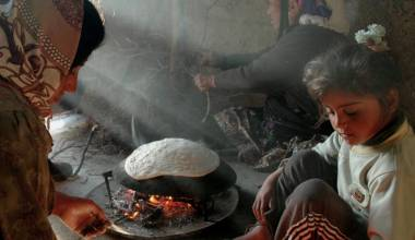 Palestinian women baking bread