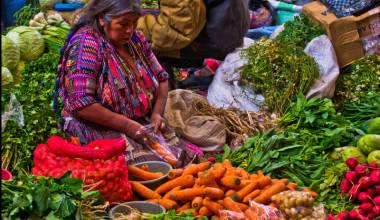 Woman with vegetables at Chichicastenanago market