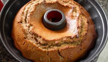Lekach, a Jewish honey cake, in a Bundt pan