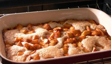 Freshly baked peach cobbler