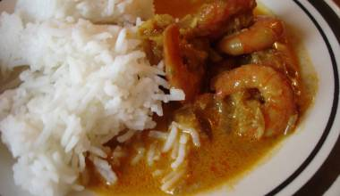 Jhinga Goa curry Indian shrimp in coconut curry