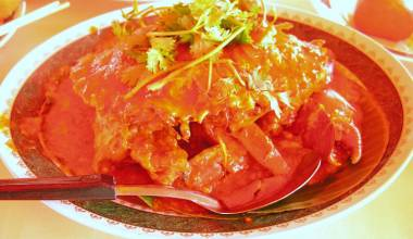 Singapore chilli crab in a spicy sauce