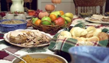 Thanksgiving table with a holiday meal