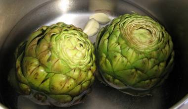 Artichokes ready for braising