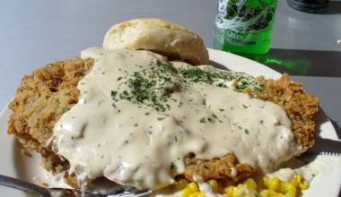 Plate of chicken-fried steak