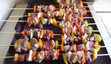 Sosaties lamb and apricot skewers