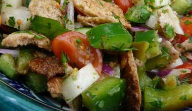 Fattoush (Arab tomato, cucumber and bread salad)