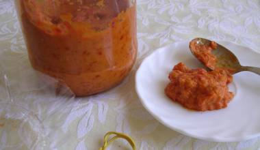 Ajvar (Serbian roasted pepper and eggplant spread)