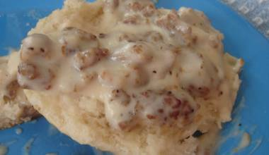 Sausage gravy on a biscuit