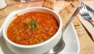 Bowl of sopa de lentejas