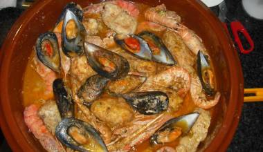 Bowl of zarzuela de mariscos Spanish seafood stew