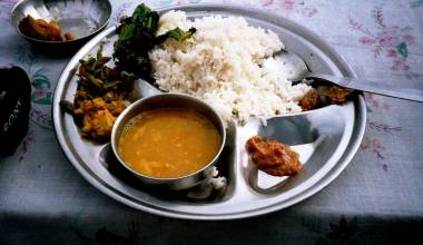 Dal Bhat Tarkari (Nepalese vegetable curry with lentil soup and rice)