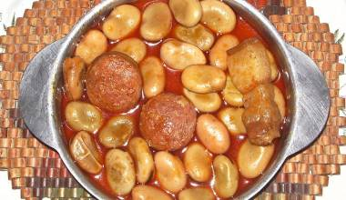 Habas con Chorizo (Spanish fava beans simmered with spicy sausage)
