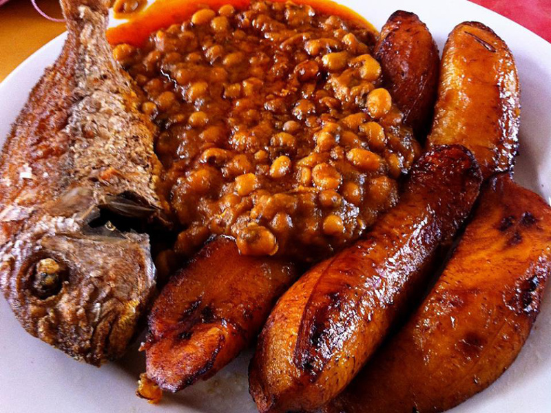 Nigerian dodo with beans and fried fish
