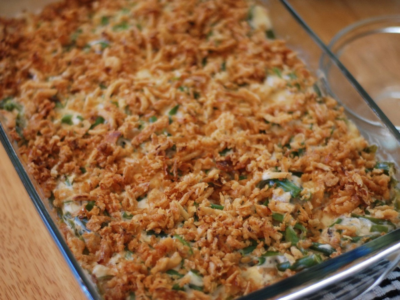 Dish of green bean casserole