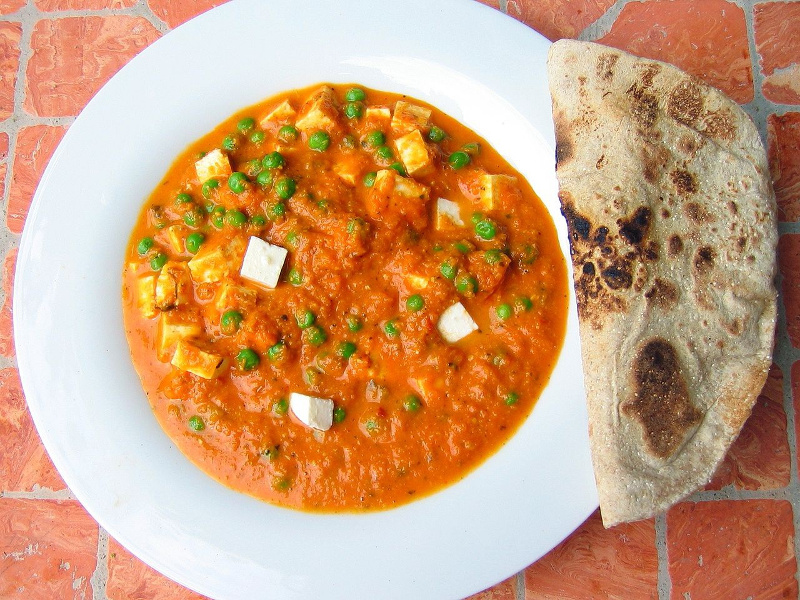 Matar paneer Indian curried peas and cheese
